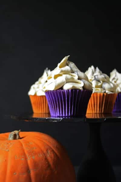 Pumpkin Cupcakes with Marshmallow Frosting