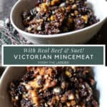 Images of bowls of mincemeat with title text in between