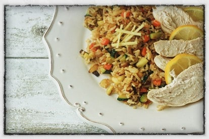Lemon Poached Chicken with Gingery Rice