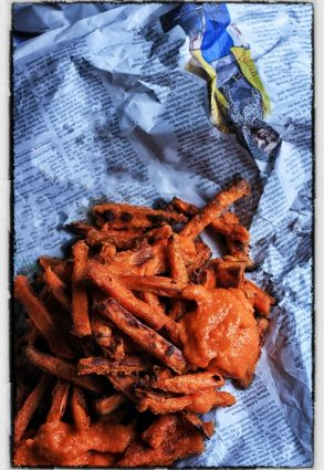 Sweet Potato Fries with Bravas Sauce