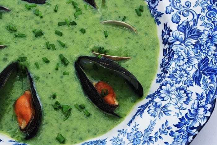 Wild Garlic and Garlic Chive Soup with Mussels and Clams | Stroud Green Larder