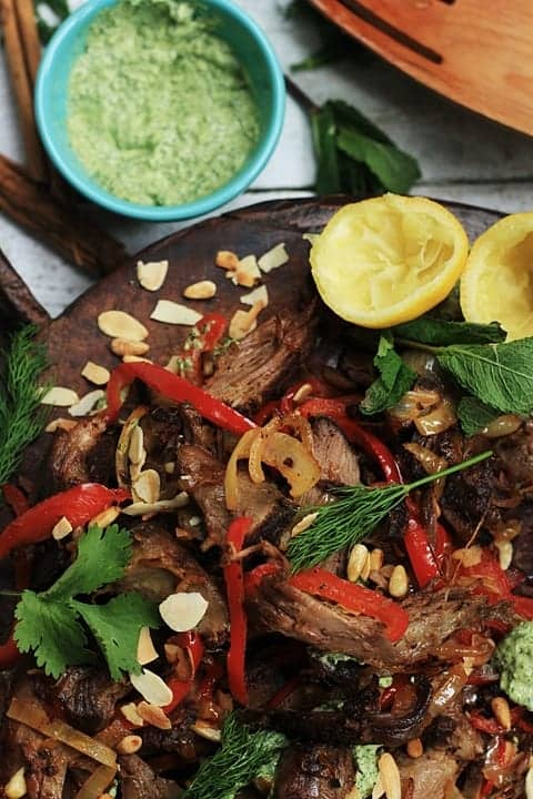 Slow Roast Middle Eastern Lamb with Toasted Almond Pine Nuts and Green Tahini Dressing  |  Stroud Green Larder