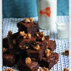 Sea Salt Cashew Praline Brownies