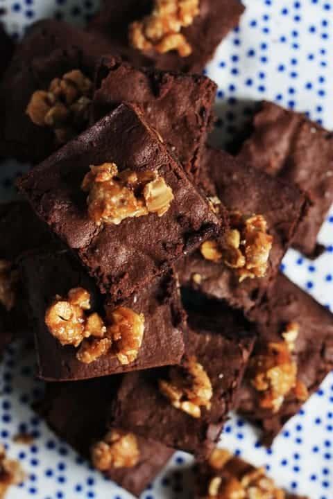 Sea Salt Cashew Praline Brownies  |  Stroud Green Larder