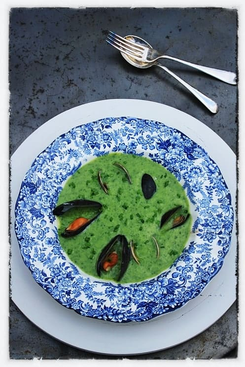 Wild Garlic and Garlic Chive Soup with Mussels and Clams