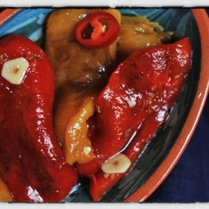 Roasted Peppers Preserved with Garlic and Chilli