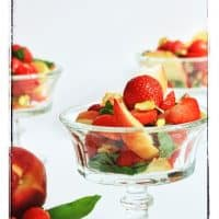 Strawberry White Peach Basil and Pistachio Salad