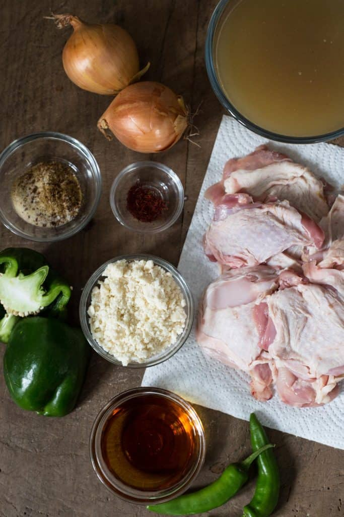 ingredients for Calypso Chicken on a wooden board