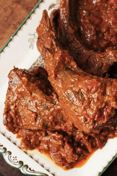 Tomato and Coconut Curried Mutton Chops