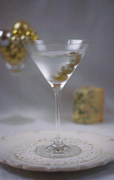 Stilton Stuffed Olive Martini