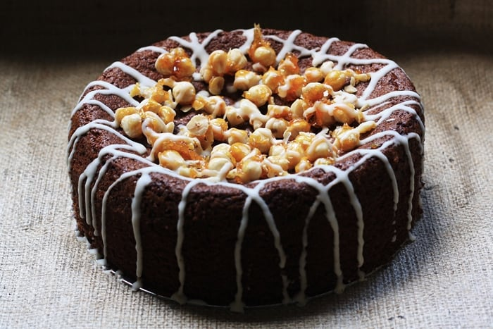 Spiced Pear Butter and Hazelnut Praline Cake