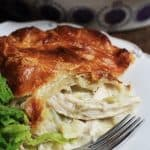 A slice of chicken and leek pie