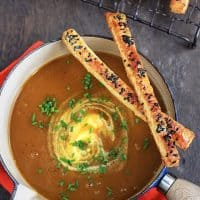 Spiced Roast Pumpkin Soup with Black Sesame Cheese Straws
