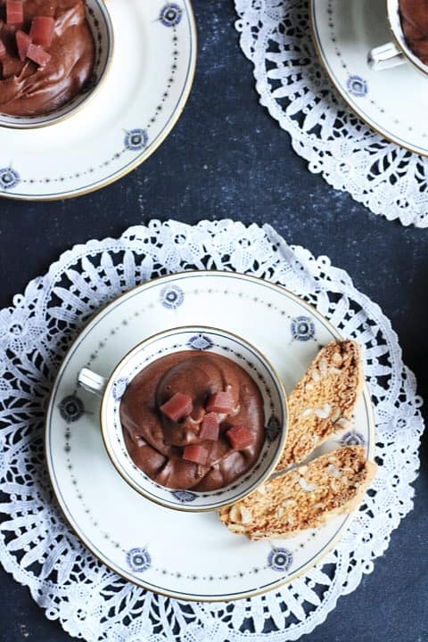 Chocolate Mousse with Mulled Pear and Cobnut Biscuits