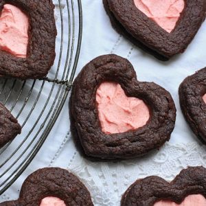 Chocolate and Raspberry Valentine Biscuits