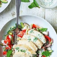 Chicken and Feta Salad with Minted Yoghurt Dressing