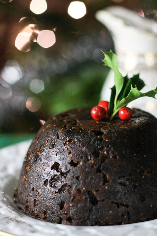 Christmas Pudding on a plate to be served.