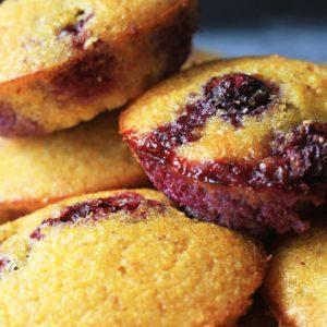Mini Blueberry Cornbread Muffins {gluten-free}