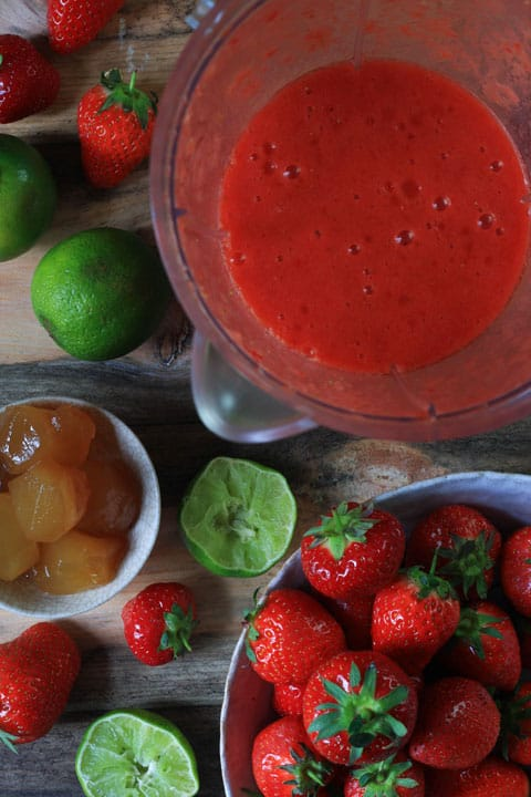 Ingredients for Strawberry and Stem Ginger Sangria