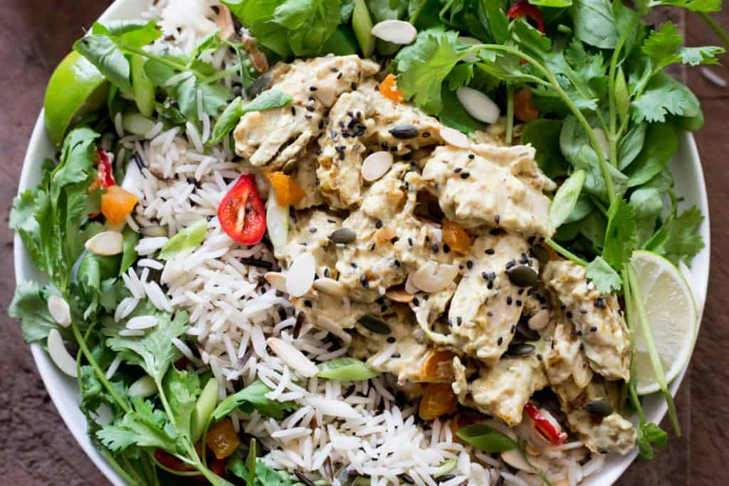 A bowl of Coronation Chicken Salad