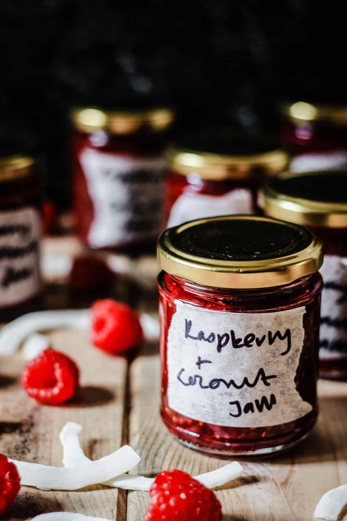A labelled jar of raspberry coconut jam