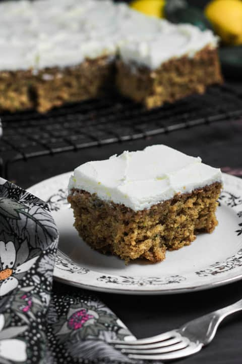 This Gluten-Free Courgette Oatmeal Cake with Lemon Mascarpone Icing makes the most of summer's bounty and is perfectly light, moist and incredibly moreish