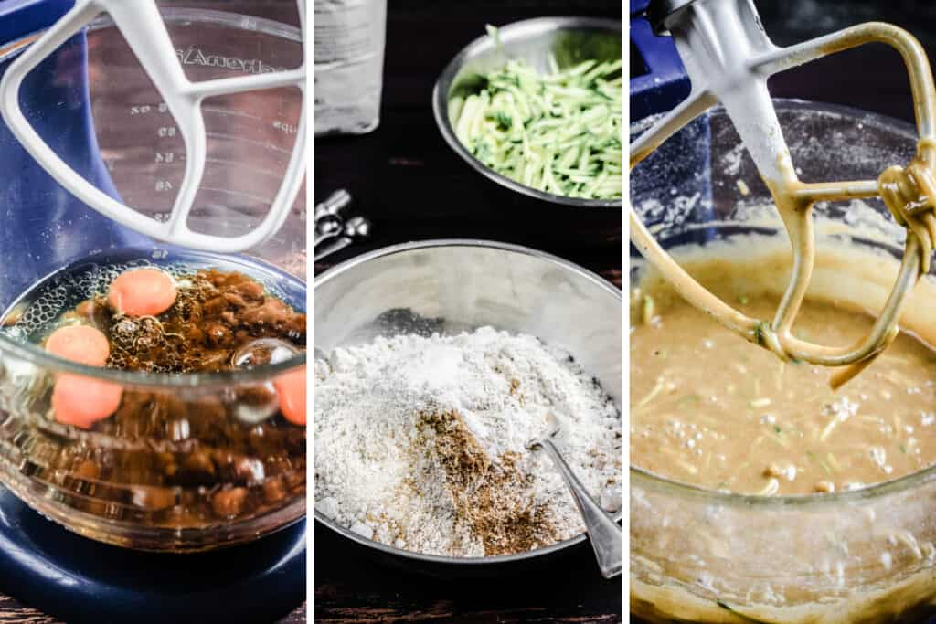 images showing how to make courgette cake, one of ingredients in mixer, then the flours in a bowl, then the batter in the mixer
