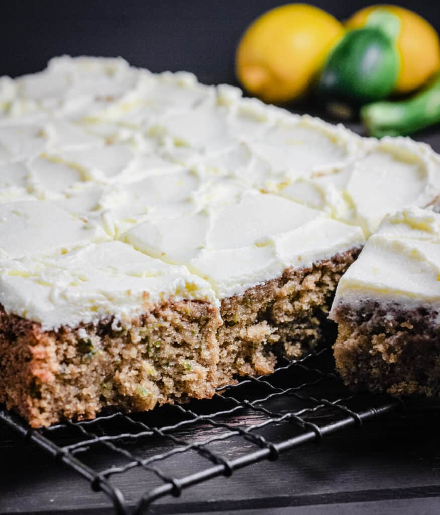 courgette cake from above cut into slices