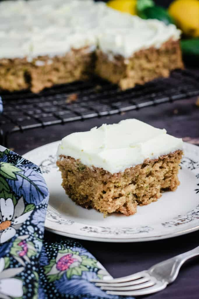 A slice of courgette cake on a plate
