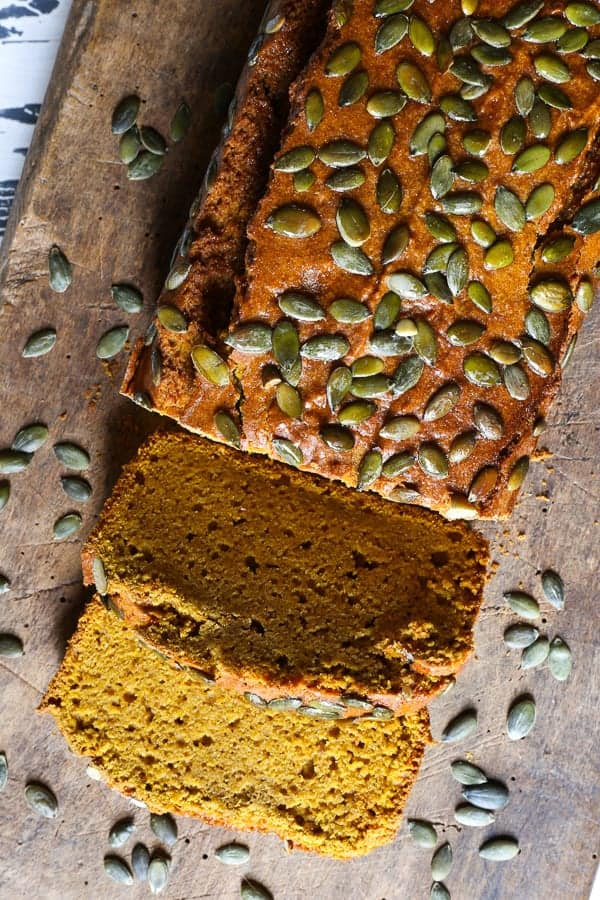 A deliciously moist Gluten-Free Pumpkin Bread, made with brown butter and alternative flours for an earthy nutty flavour and unbeatable chew.
