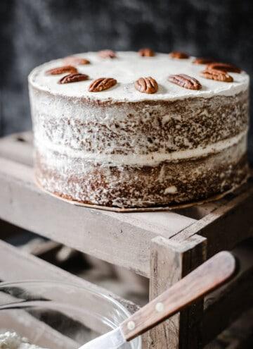 Pecan Butterscotch Latte Cake on a wooden box