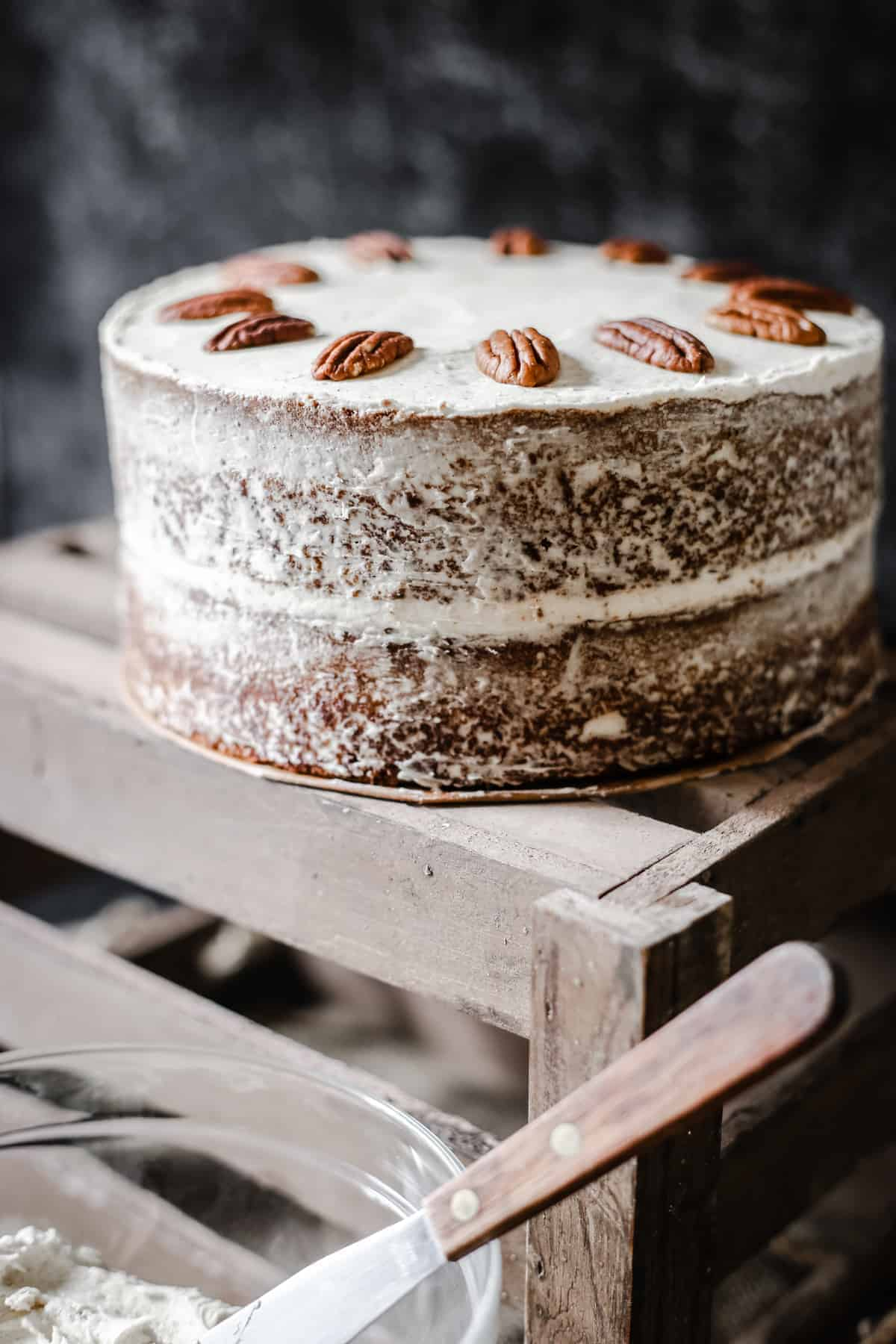 Pecan Butterscotch Latte Cake on a wooden box