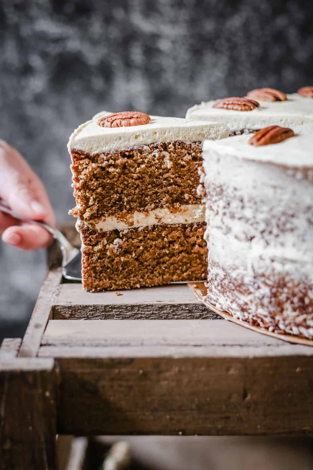 This Pecan Butterscotch Latte Cake is a gluten-free delight, the sponge flavourful with ground pecans, oat flour and muscovado sugar. The buttercream whipped to light perfection with a touch of mascarpone and all imbued with a rich coffee aroma.