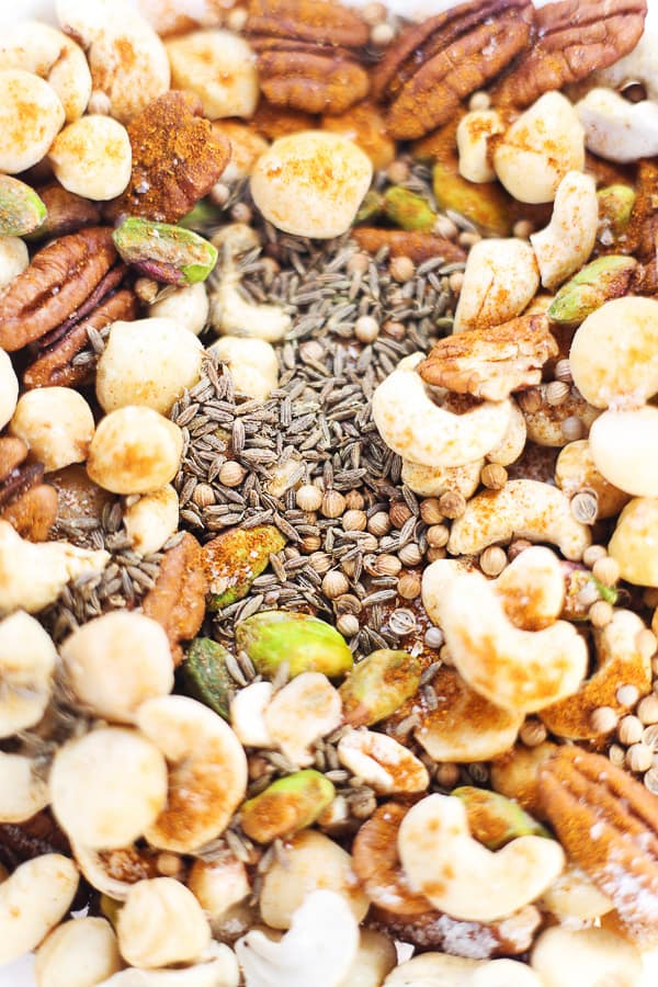 This Honey Chipotle Nut Bowl is great for bringing out to a crowd. A smoky, spicy, sweet and salty snack which can be made with any combination of leftover nuts.