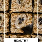 Close up of Healthy Banana Flapjacks with text overlay
