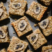 Healthy Banana Flapjacks arranged on a metal tray