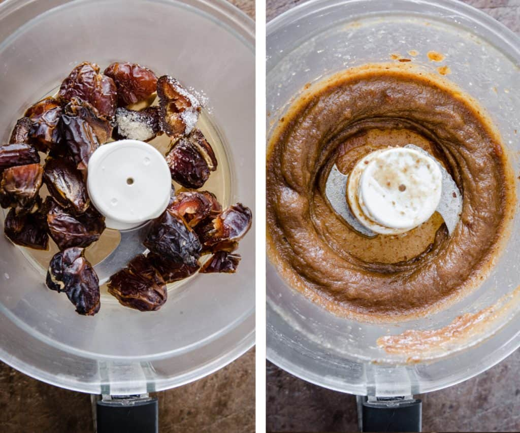 process image of making date caramel. Dates in a food processor and dates turned into caramel