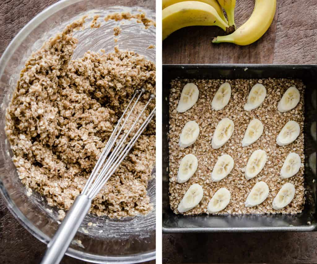 Two images of flapjack mixture in a bowl and flapjacks in a tin ready for the oven