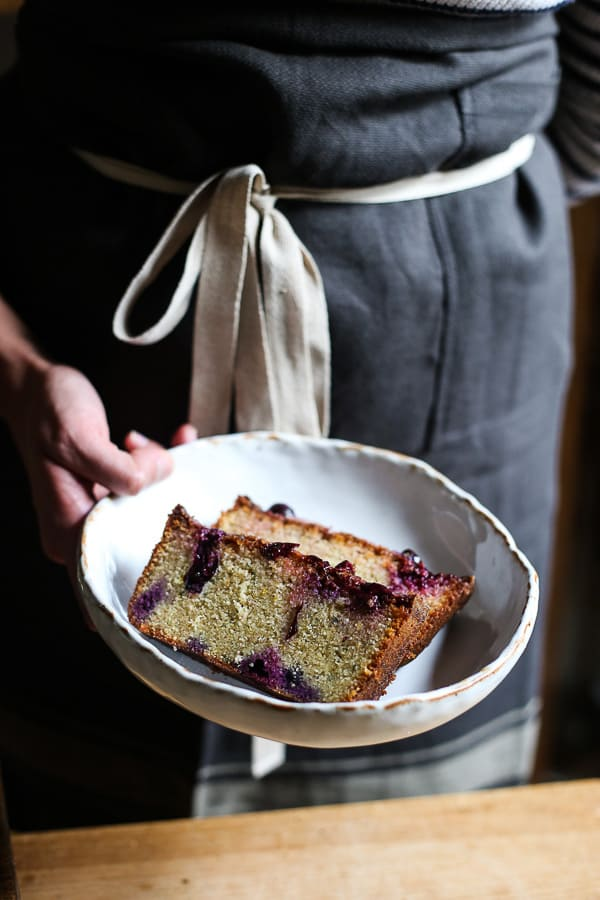 Blueberry Basil Lemon Drizzle Loaf