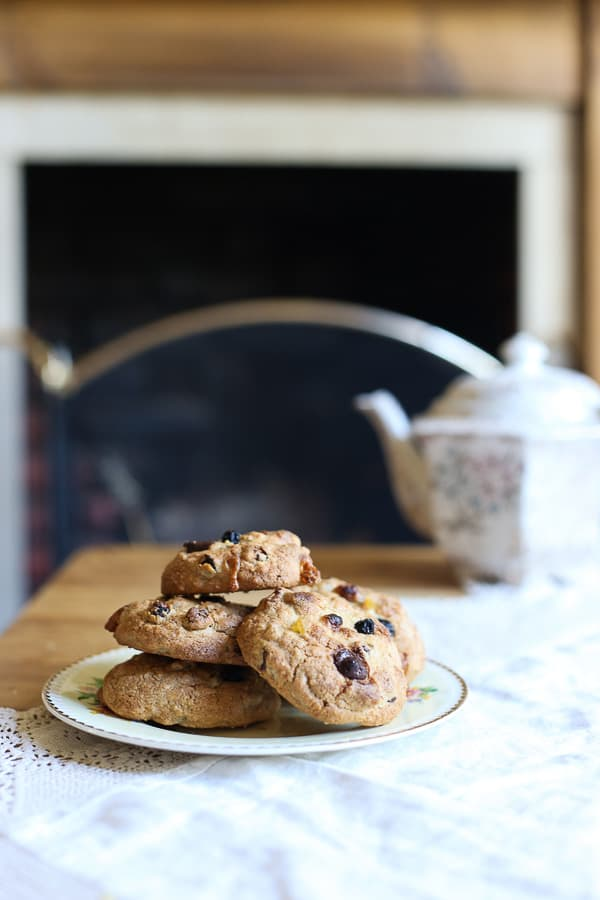 These gluten-free Easter Cookies are loaded with spices, currants, marzipan and dark chocolate chips.