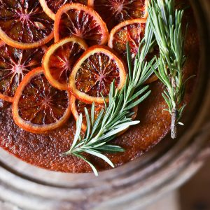 Blood Orange Rosemary Polenta Cake