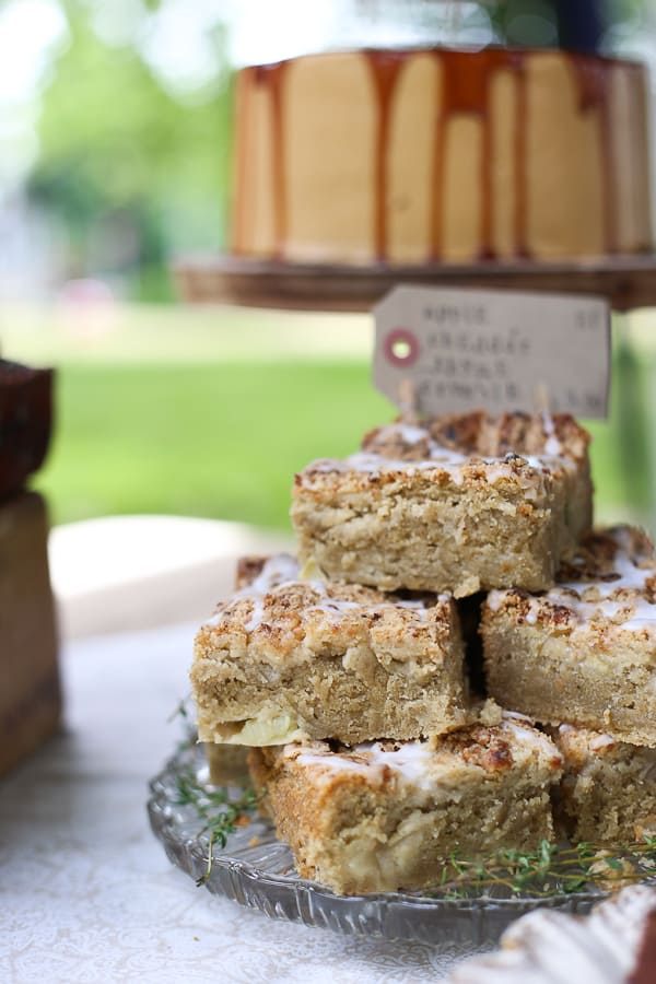 Apple Rosemary Cheddar Crumble Cake
