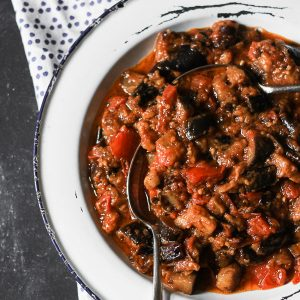 Garlicky Slow Braised Tomato and Aubergine
