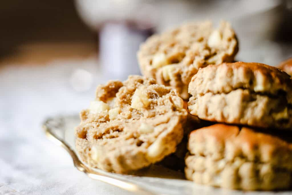 close up image of apple scone halved