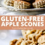 Pinnable image of apple scones on a china plate with text overlay