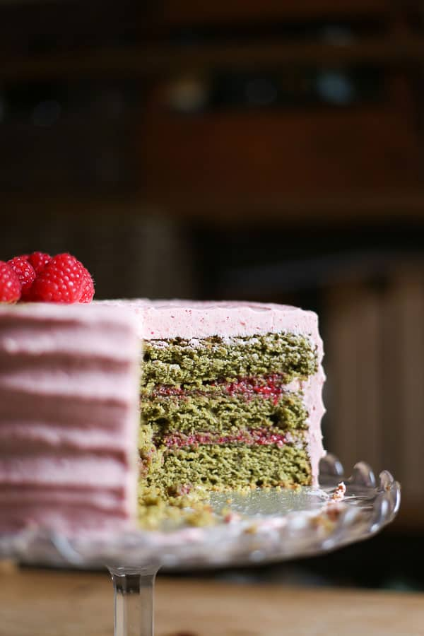 raspberry matcha cake gluten free from the larder. Black Bedroom Furniture Sets. Home Design Ideas