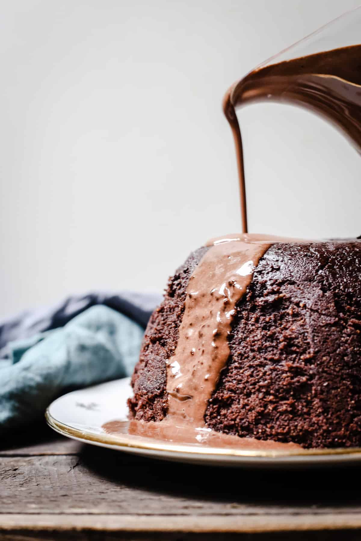 Steamed Chocolate Sponge Pudding with Chocolate Custard {gluten-free}