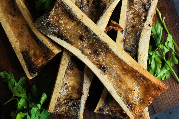 Roasted Bone Marrow with Parsley and Sorrel Salad