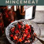 cranberry mincemeat in a glass bowl with title at the top of the image