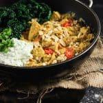 Turkey Peanut and Kale Curry with Cucumber and Coriander Raita
